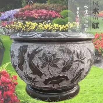 青石花盆雕刻