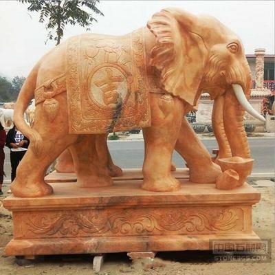 现货汉白玉晚霞红石雕大象销售