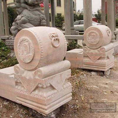 供应晚霞红中式复古石雕门墩