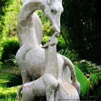 供应各种石雕动物亲子廘花岗岩