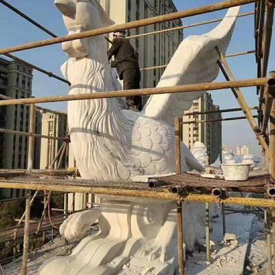 汉白玉龙凤图腾大型雕刻