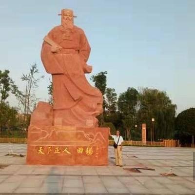 中国红雕刻人物石雕