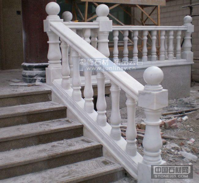 汉白玉别墅阳台栏杆扶手 石材楼梯扶手 广西白石材栏杆 圆柱罗马柱栏杆 花瓶柱宝瓶柱栏杆 厂家直销