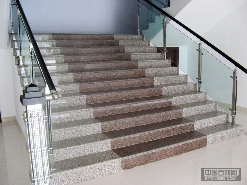室内铺设-将军红和五莲花的楼梯踏步板